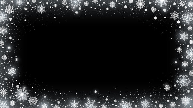 Blizzard snow frame. Snowed border, shiny white snowflakes and frosted winter card 16x9 vector illustration background