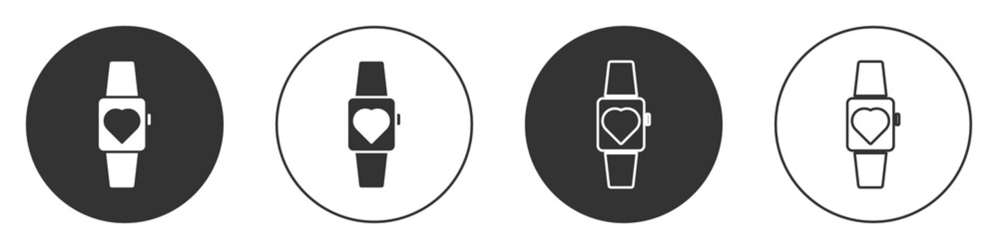 Black Smartwatch icon isolated on white background. Circle button. Vector.