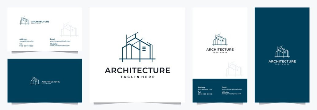 logo for real estate, building, apartment, architect, with two versions of business cards