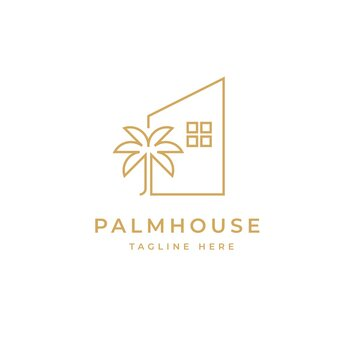 Palm house logo design symbol vector template