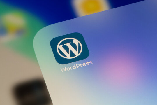 Ostersund, Sweden - Sep 15, 2020: Wordpress app icon. WordPress is a free and open-source content management system based on PHP and MySQL