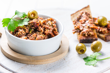 Tapenade - olive paste from France with ingredients