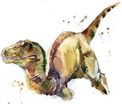 Dinosaur watercolor illustration. Jurassic world.