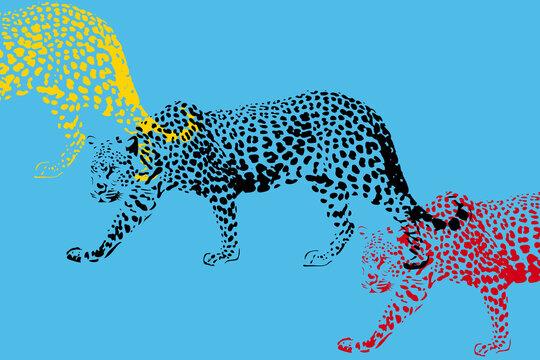 Panthère pop art multicolore