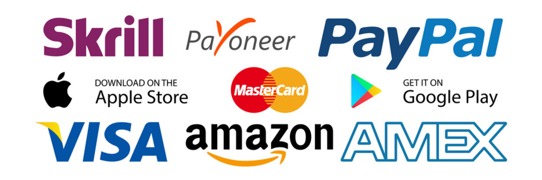 Skrill, Payoneer, PayPal, Mastercard, Visa, Amex, Amazon - popular payment systems. Google pay, app pay icons. Google Play Store, Apple Store buttons. Kyiv, Ukraine - September 13, 2020