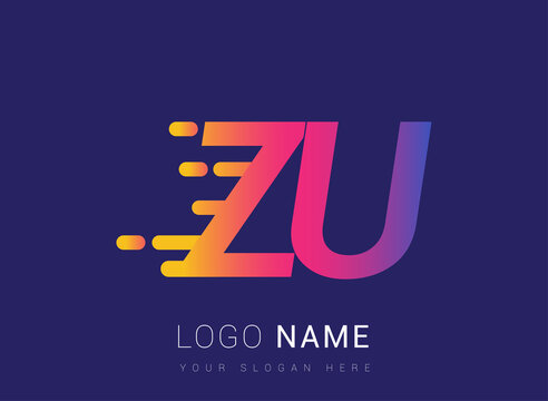 Initial Letter ZU speed Logo Design template, logotype company name colored yellow, magenta and blue.for business and company identity.