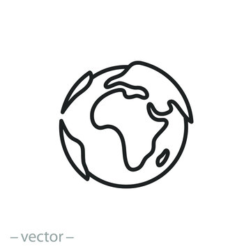globe icon, earth planet day, world map, logo template ecology environment, thin line simple web symbol on white background, editable stroke vector illustration