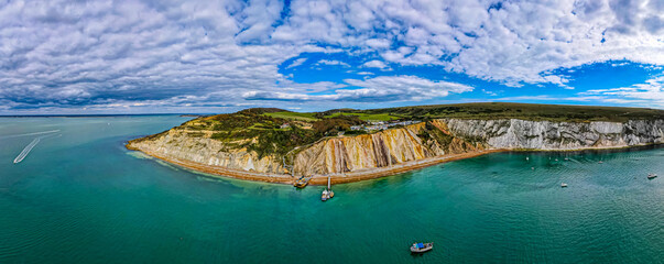 Aerial panoramic view of the Needles of Isle of WIght