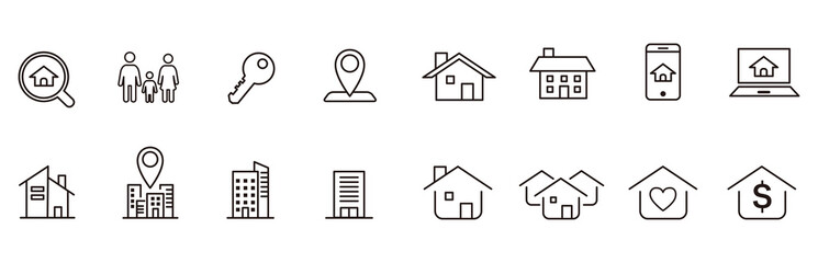 Real Estate icons collection vector