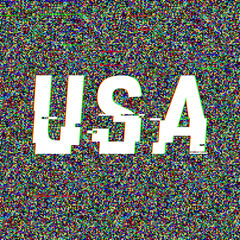 USA vector glitch text. Patriotic background with anaglyph 3D effect. Creative illustration, web template for american posters, flyers. Technological retro layout. Computer program, TV channel screen