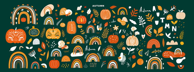 Door stickers Wall Decor With Your Own Photos Vector collection with autumn symbols and elements. Autumn pumpkins and Rainbows