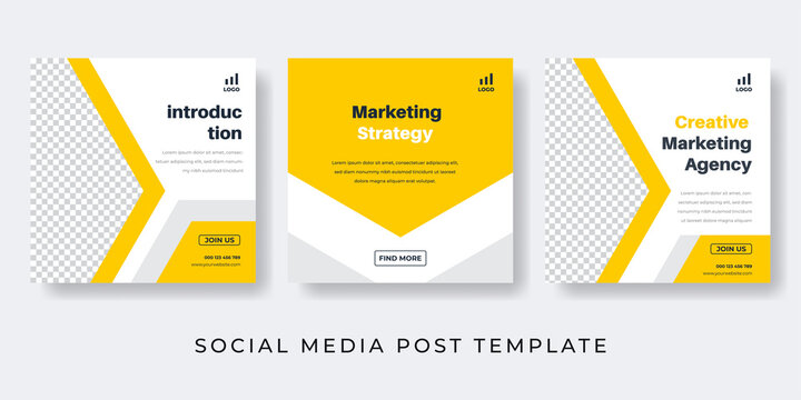 Yellow social media post template for Digital Marketing, Corporate business, Marketing Professional, Agency. Geometric design banner, web, advertising, background.