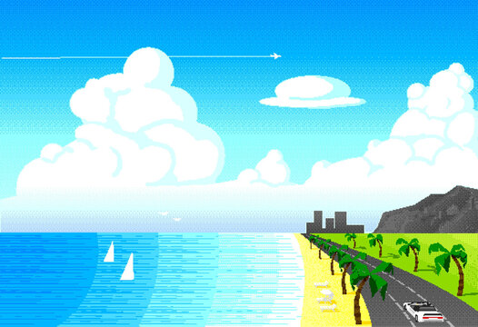 Street, Highway with Palm trees near Ocean, Los Angeles. Seaside at Summer day. Pixel, 8 bit art for design