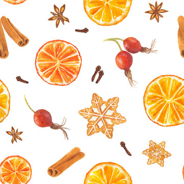 Watercolor seamless pattern with Christmas gingerbread cookies, orange, rose hip, star anise and cinnamon
