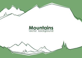 Foto auf Leinwand Olivgrun Vector illustration: Hand drawn abstract green mountains background with pines. Flat landscape.