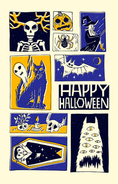 Hand drawn comic book style illustration. Happy Halloween. Print for t-shirts, invitations, cards, clothes, bags, posters
