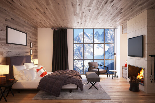 Luxury bedroom in the Interior of the Expensive Hotel overlooking the mountain scenery. 3D Render