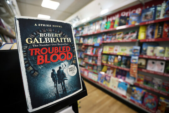 """JK Rowling's latest book """"Troubled Blood"""", written under pseudonym Robert Galbraith, is pictured at a bookstore in Hanley, Stoke-on-Trent"""