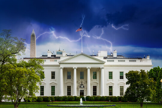 Storm moody sky over White House, residence and workplace of the president of the United States, concept shot