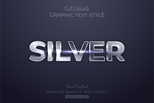 Silver Editable 3D Text Style Effect Premium
