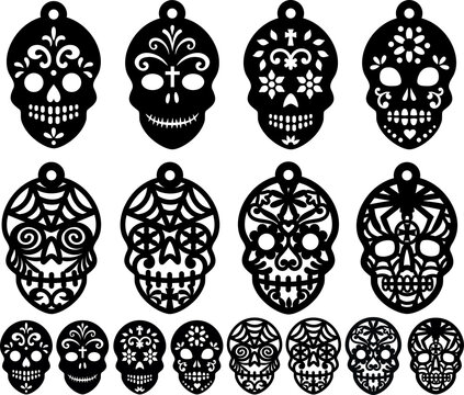 Sugar Skull Earrings Candy Skull  Clipart Halloween Jewelry Coulomb the Day of the Death