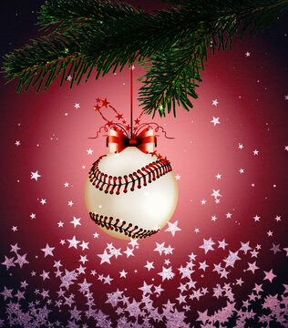Baseball, Sports Christmas Card with festive decorations.