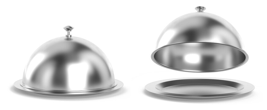 Silver cloche set 3d rendering
