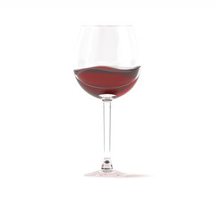 Red wine in glass 3d rendering