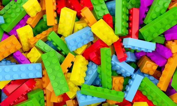 Toys bricks colorful background 3d rendering
