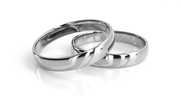 Two wedding rings 3d rendering