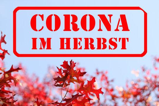 Roter Stempel mit Schriftzug: Corona im Herbst, ist im Herbst, als Warnung, auf blauem Himmel, vor Ast mit schönem gelben und orangen Herbslaub, gestempelt V