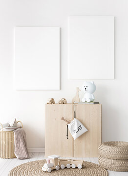 Mock up frame in children room with natural wooden furniture, two vertical frames on white wall, 3D render