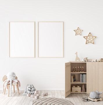 Mockup frame in minimal unisex child bedroom with natural wooden furniture, 3d render