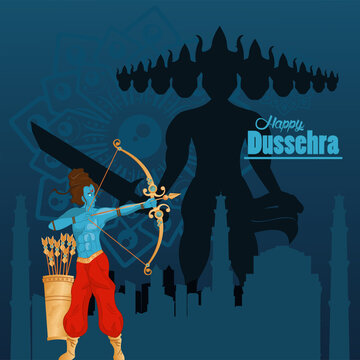 happy dussehra celebration card with blue rama with ravana characters