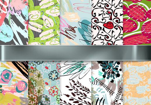 Seamless Pattern Collection with Hand Drawn Rough Abstract Strokes and Floral Elements