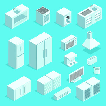 Vector isometric kitchen  interior set of furniture icons. Modern interior, furniture for home cooking: refrigerator, stove, microwave, dining table.