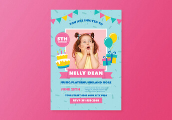 Girl Birthday Party Flyer Layout