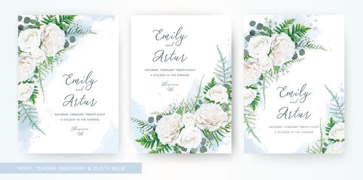 Wedding invite, invitation watercolor floral card template set. Elegant stylish tender ivory white garden Rose flower, asparagus fern leaves greenery & dusty blue ink paint splashes. Trendy art design