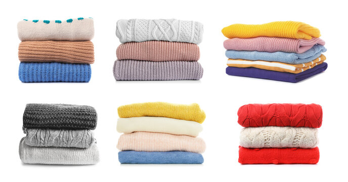 Set of folded and stacked sweaters on white background. Banner design