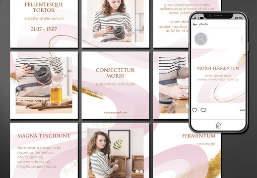 Social Media Post Layout Set with Pink and Gold Wave