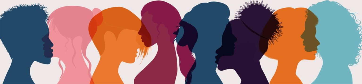 Female diversity. Group multiethnic and multiracial women and girls who communicate and share information on social network and community. Head face silhouette profile. Friendship. Speak