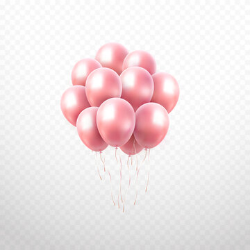 Balloon bunch isolated on transparent background. Vector realistic gold rose festive 3d helium ballons template for anniversary, birthday party design