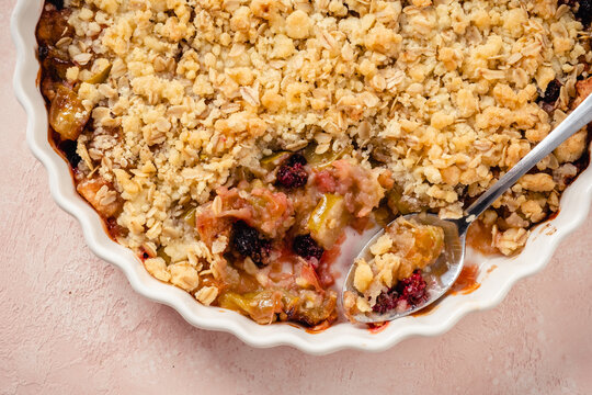 Delicious apple and blackberry crumble with oat