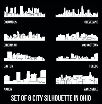 Set of 8 city silhouette in Ohio ( Columbus, Cleveland, Cincinnati, Youngstown, Dayton, Toledo, Akron, Zanesville )
