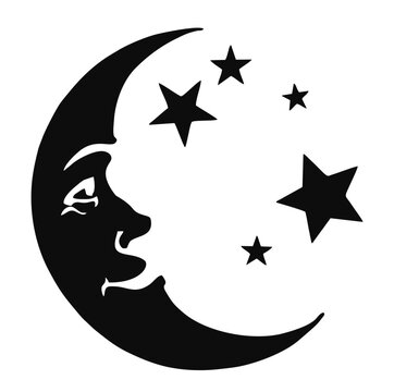 Vector icon of Crescent moon with face and stars
