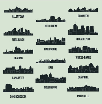 Set of 14 city silhouette in Pennsylvania (Philadelphia, Bethlehem, Harrisburg, Pittsburg, Erie, Lancaster, Reading, Allentown, Scranton, Pottsville, Greensburg, Camp Hill, Wilkes-Barre, Conshohocken)