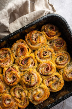 Ham and Swiss roll-ups pinwheels, Puff pastry rolls with ham and cheese