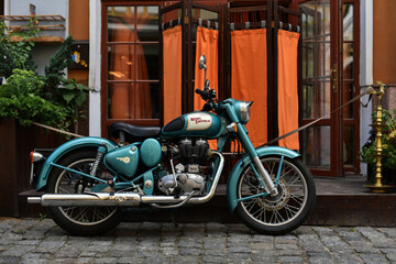Kiev / Ukraine - 07.18.18: motorcycle Royal Enfield Classic 500