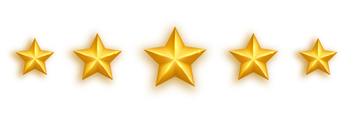 Golden realistic star set on white background. Five glossy stars gold stars rating icons. Luxury holidays design element. Shining gold bauble. Feedback concept. Positive review. Vector illustration
