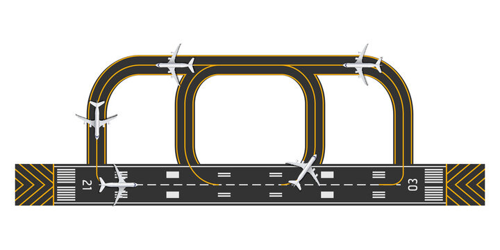 Top view of airport runway with airplane, vector illustration
